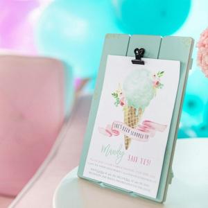 Ice cream themed bridal shower invitation