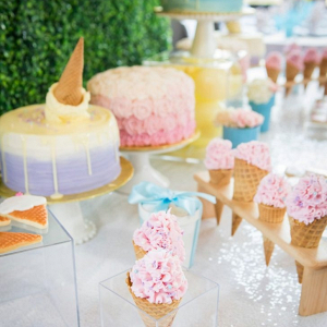 Ice cream theme dessert table display at bridal shower