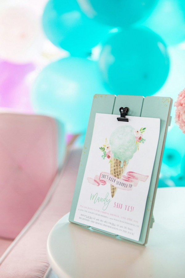 Ice cream themed bridal shower invitation
