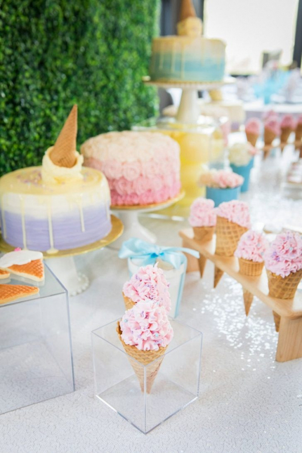 Ice cream theme dessert table display at bridal shower