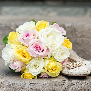 Yellow and blush bouquet on The Budget Savvy Bride