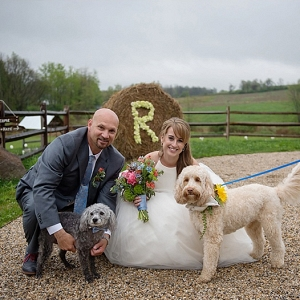 Portrait with dogs on The Budget Savvy Bride