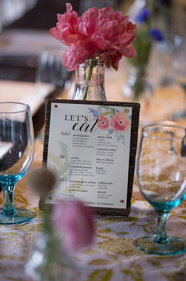 Floral print menu on The Budget Savvy Bride
