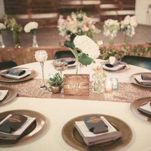 Neutral hued reception table