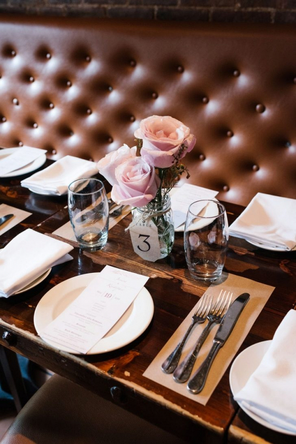 Rose mason jar wedding centerpieces