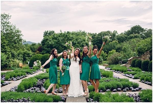 emerald green bridesmaids at NC wedding on The Budget Savvy Bride