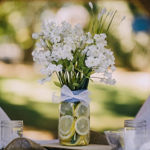 Simple lemon and floral centerpiece