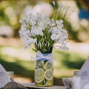 Simple lemon and floral centerpiece