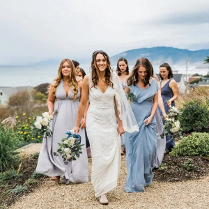 Mismatched blue bridesmaid dresses