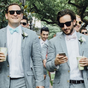 Groomsmen in gray suits on The Budget Savvy Bride