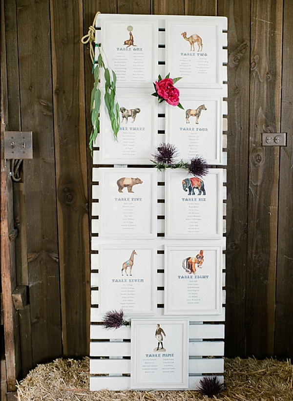 Animal themed escort cards