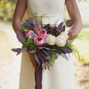 Pink and plum bridal bouquet