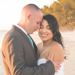 Beach couple portrait on The Budget Savvy Bride