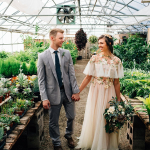 Romantic greenhouse wedding portrait