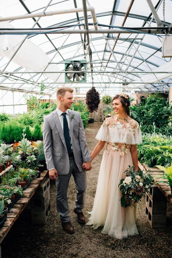 Romantic greenhouse wedding portrait