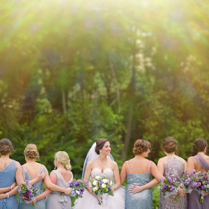 Purple Blue and Slate Bridesmaid Dresses