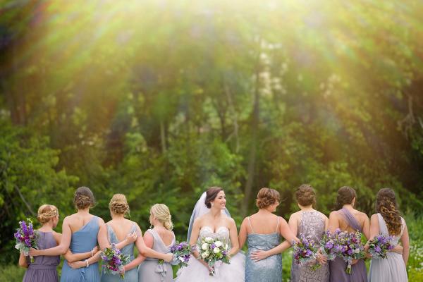 Purple Blue and Slate Bridesmaid Dresses