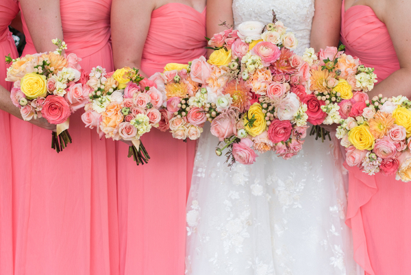 Yellow, Coral and Peach Wedding Bouquet
