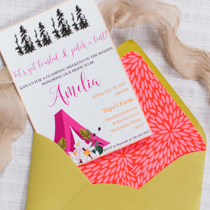 Vibrant Glamping Bachelorette Party Invitation