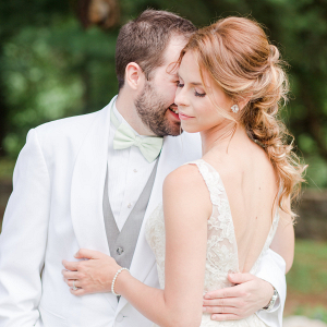 Bride and Groom Portraits with Low Back Wedding Dress