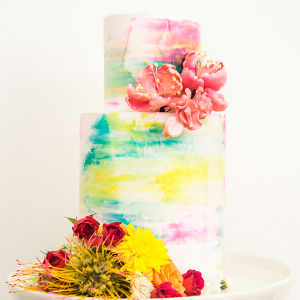 Colorful Watercolor Wedding Cake