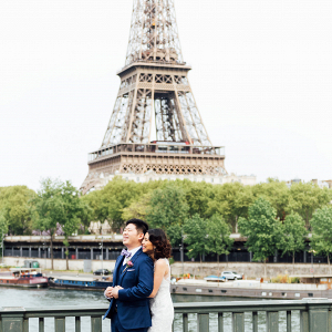 Eiffel Tower Bride + Groom Portrait