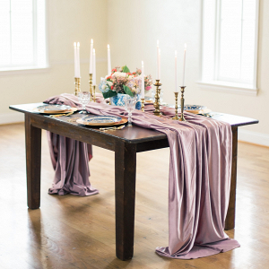Romantic Tablescape with Dusty Rose Table Runner