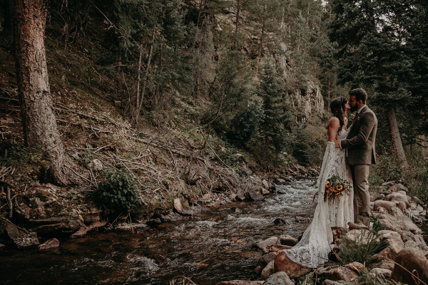 Bride and Groom Portrait with Boho Wedding Dress