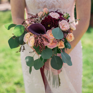 Burgundy, Blush + Peach Wedding Bouquet