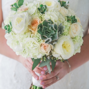 All white bouquet with succulents