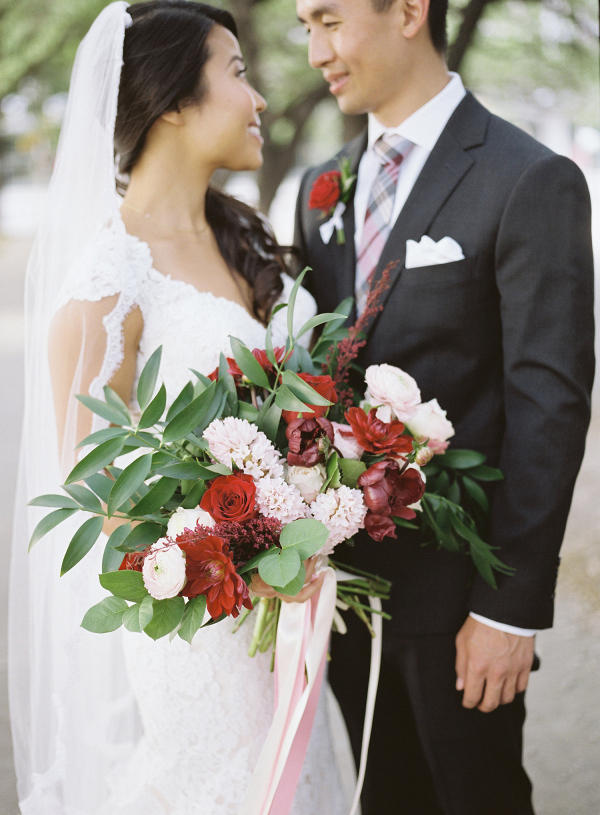 red pink and white bouquet