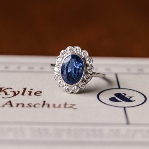 Vintage Blue Halo Engagement Ring