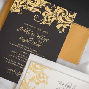 Gold and Black Formal Wedding Invitation Suite