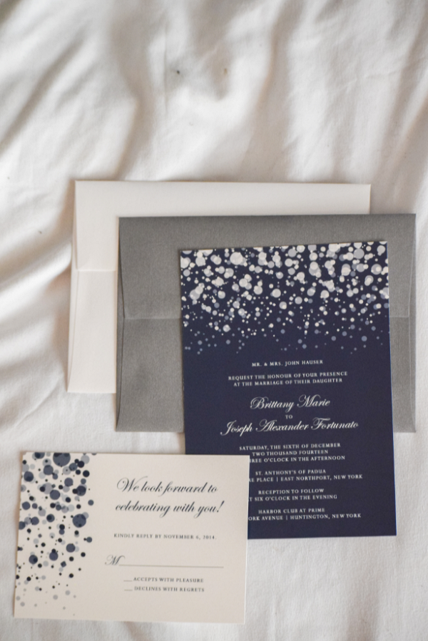 Silver and Navy Wedding Invitation Suite