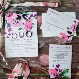 Floral Print Wedding Invitation Suite