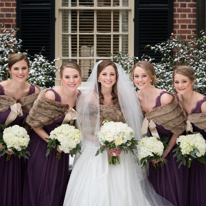 Plum Bridesmaid Dresses with Fur Shawls