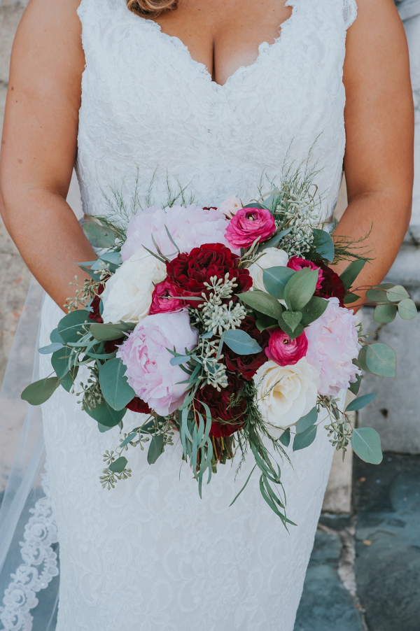 Deep Red, White and Pink Bridal Bouquet