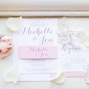 Pink, White and Purple Wedding Invitation Suite