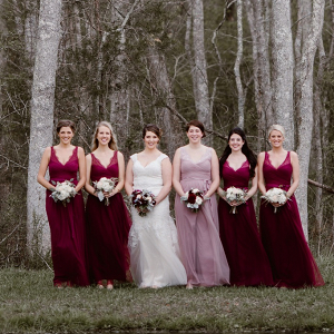 Burgundy and Lilac Bridesmaid Dresses