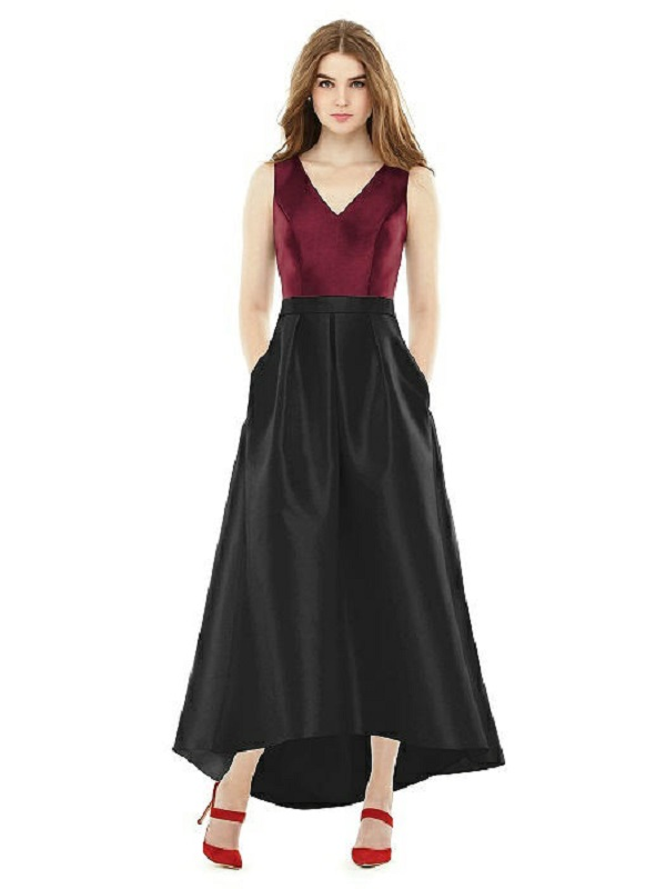 Maroon and Black Full Length Fall Bridesmaid Dress
