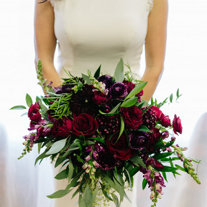 Rich Red + Plum Bridal Bouquet