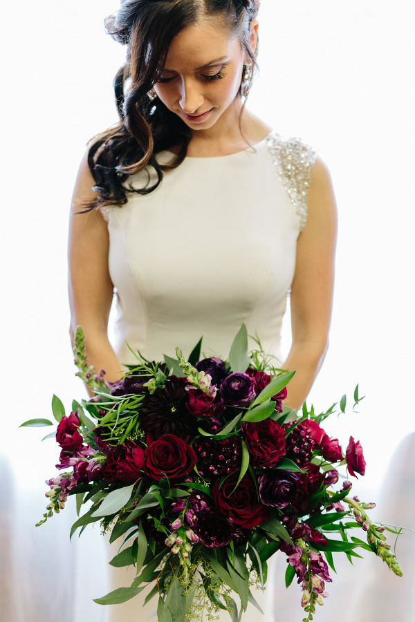 Rich Red + Plum Bridal Bouquet