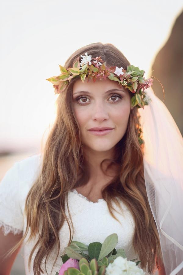 Beach Bride with Flower Crown