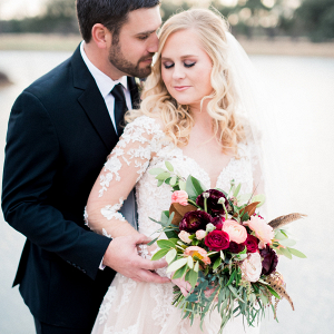 Burgundy + Blush Bouquet with Bride + Groom Portrait