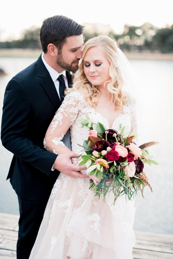 Burgundy + Blush Bouquet with Bride + Groom Portrait