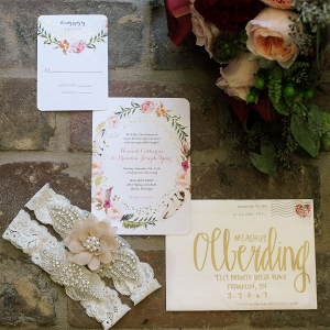Floral Print Wedding Invitation and Lace Garter