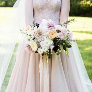 Blush Bridal Bouquet and A Blush BHLDN Wedding Gown
