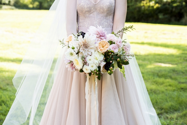 Blush Bridal Bouquet and A Blush BHLDN Wedding Gown