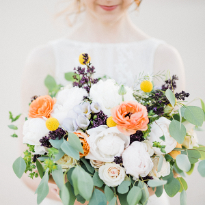 White, Orange + Plum Bridal Bouquet