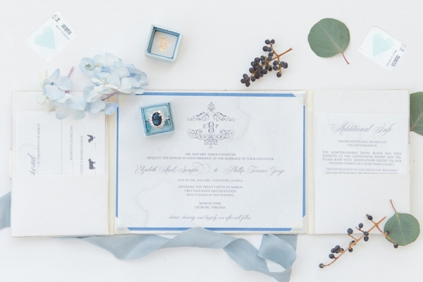 Blue + Gold Formal Wedding Invitation